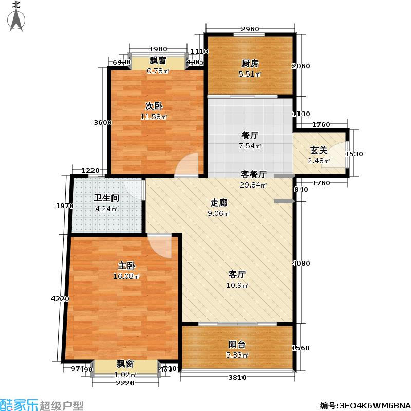 河滨城市花园71.60㎡房型: 二房; 面积段: 71.6 -97 平方米; 户型