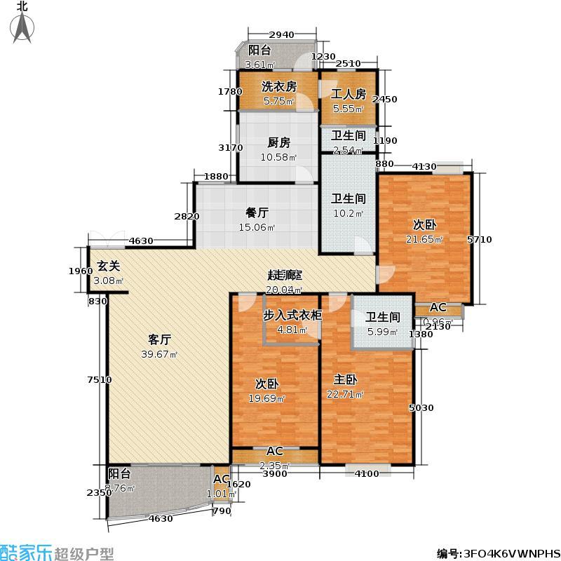 河滨花园209.00㎡房型: 四房; 面积段: 209 -216 平方米; 户型