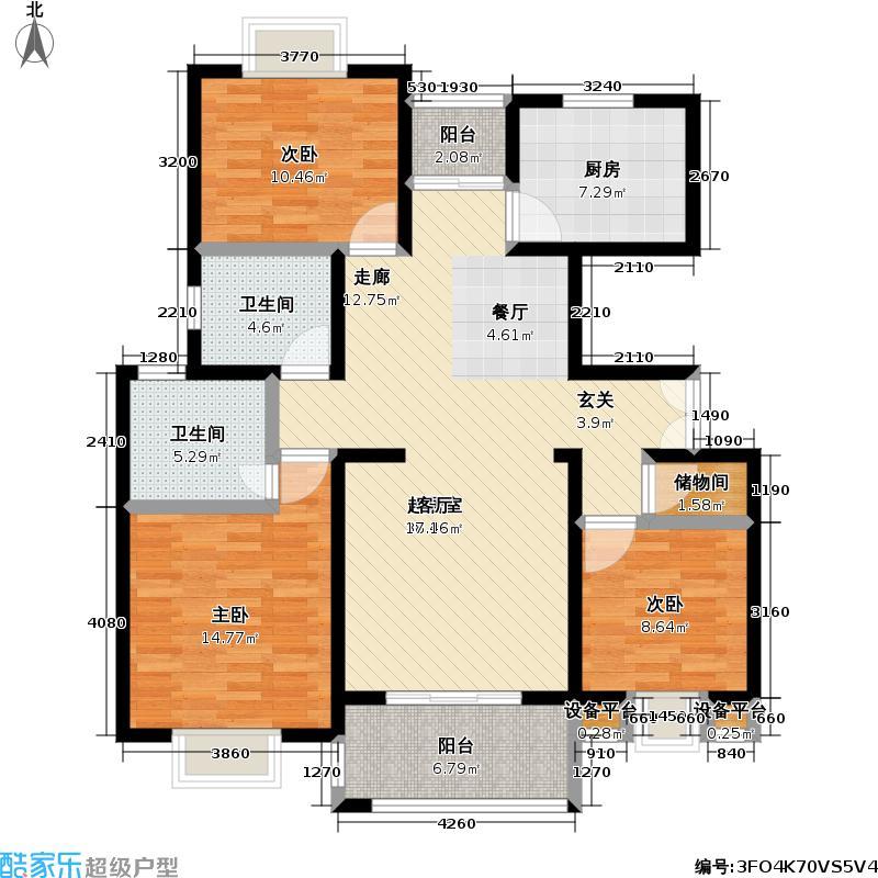东方知音113.79㎡房型: 三房; 面积段: 113.79 -135.56 平方米;户型