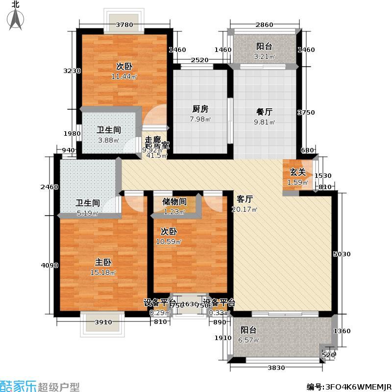 东方知音房型: 三房; 面积段: 100.33 -101.24 平方米; 户型