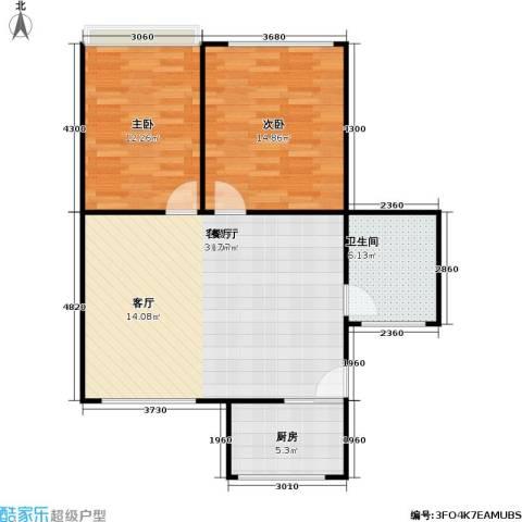 感性达利2室1厅1卫1厨74.00㎡户型图