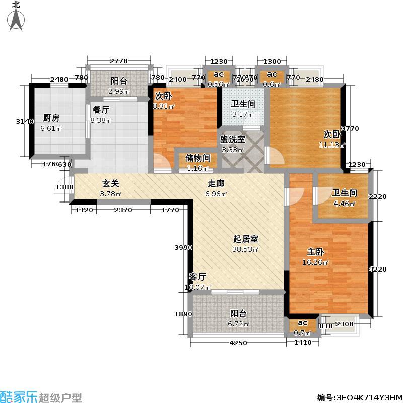 九城湖滨国际公寓120.00㎡三房二厅二卫-120-130平米-26套户型