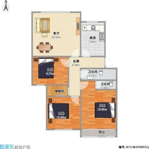 金色港湾3室1厅2卫1厨110.00㎡户型图