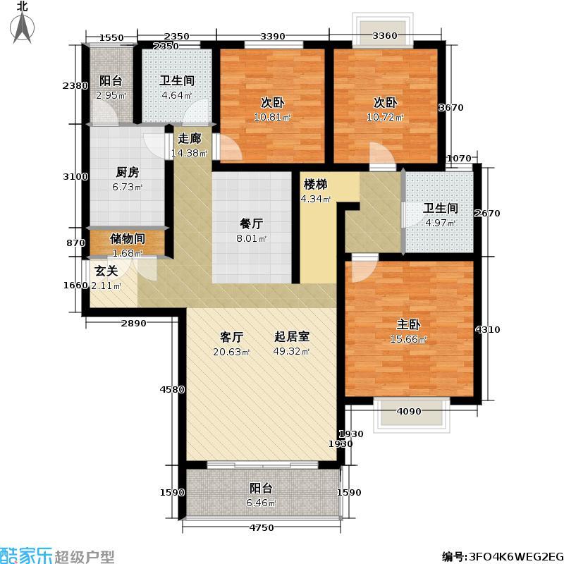 万邦都市花园四、五期房型户型3室2卫1厨