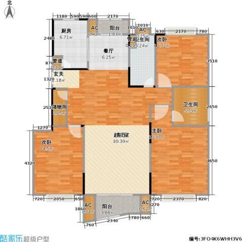 秋月枫舍二期3室0厅2卫1厨164.00㎡户型图