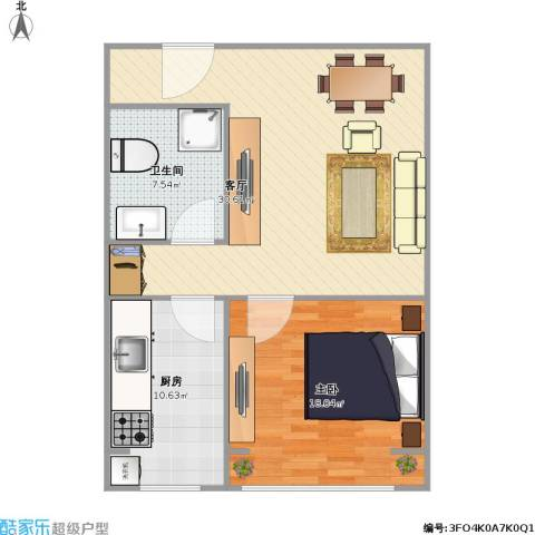 天鸿美域1室1厅1卫1厨89.00㎡户型图
