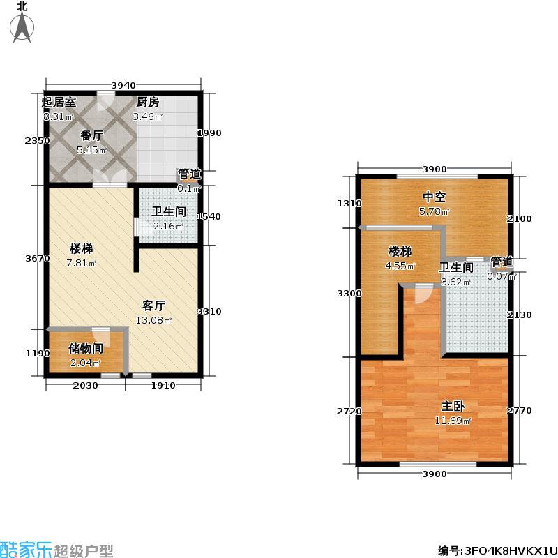 爱法小天地57.80㎡房型: 复式; 面积段: 57.8 -68.5 平方米; 户型