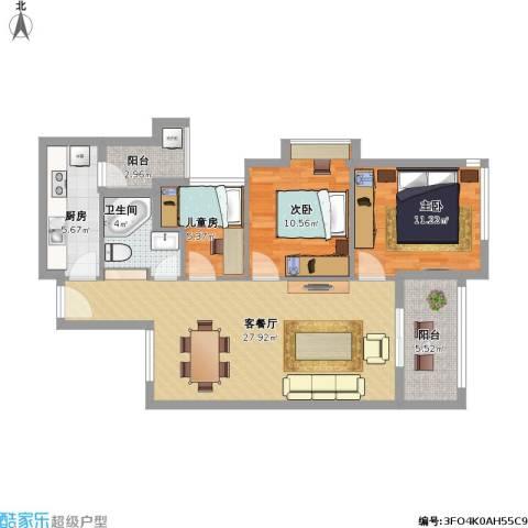 佛奥俊贤雅居3室1厅1卫1厨104.00㎡户型图