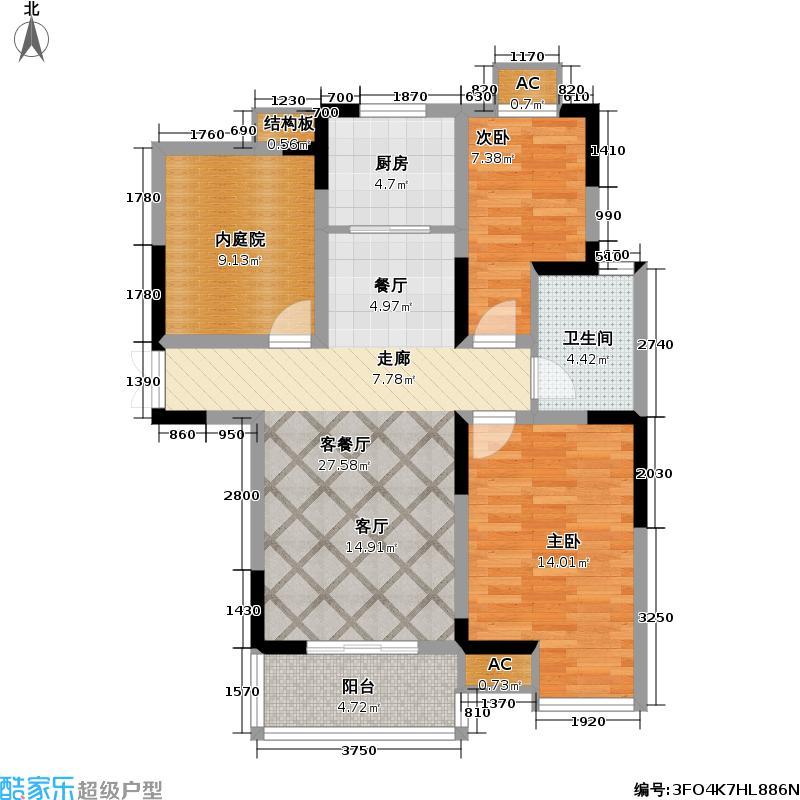 菊泉新城三房两厅一卫86.96平米户型