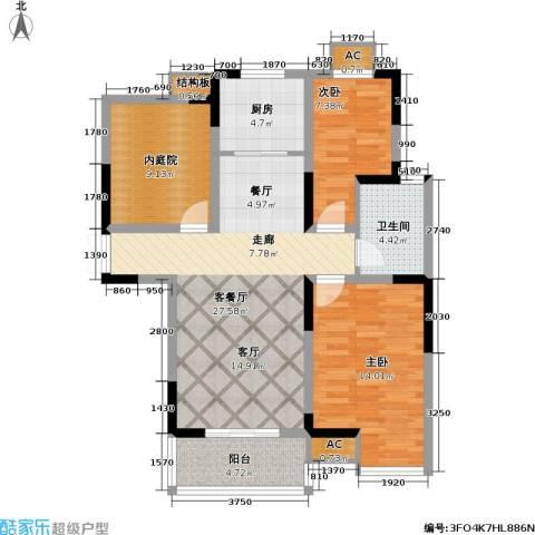菊泉新城2室1厅1卫1厨108.00㎡户型图