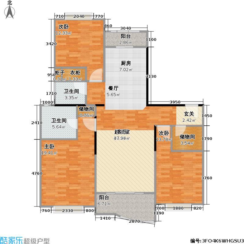 秋月枫舍二期房型: 二房; 面积段: 75.6 -104 平方米; 户型