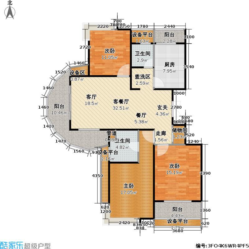 南方城二期120.00㎡房型: 三房; 面积段: 120 -145 平方米; 户型