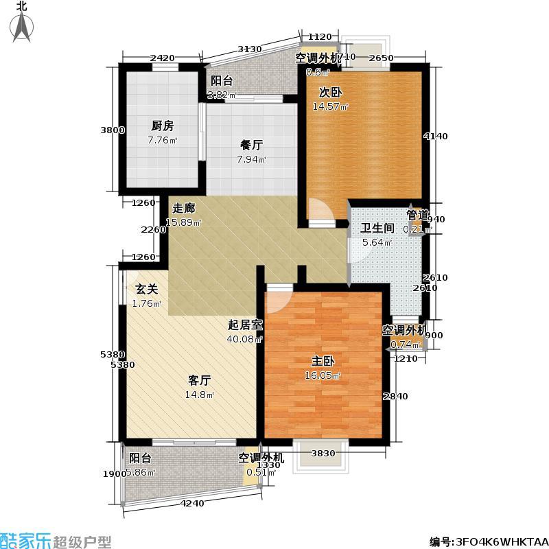 真情家公园(一期)97.94㎡房型: 二房; 面积段: 97.94 -108.07 平方米;户型