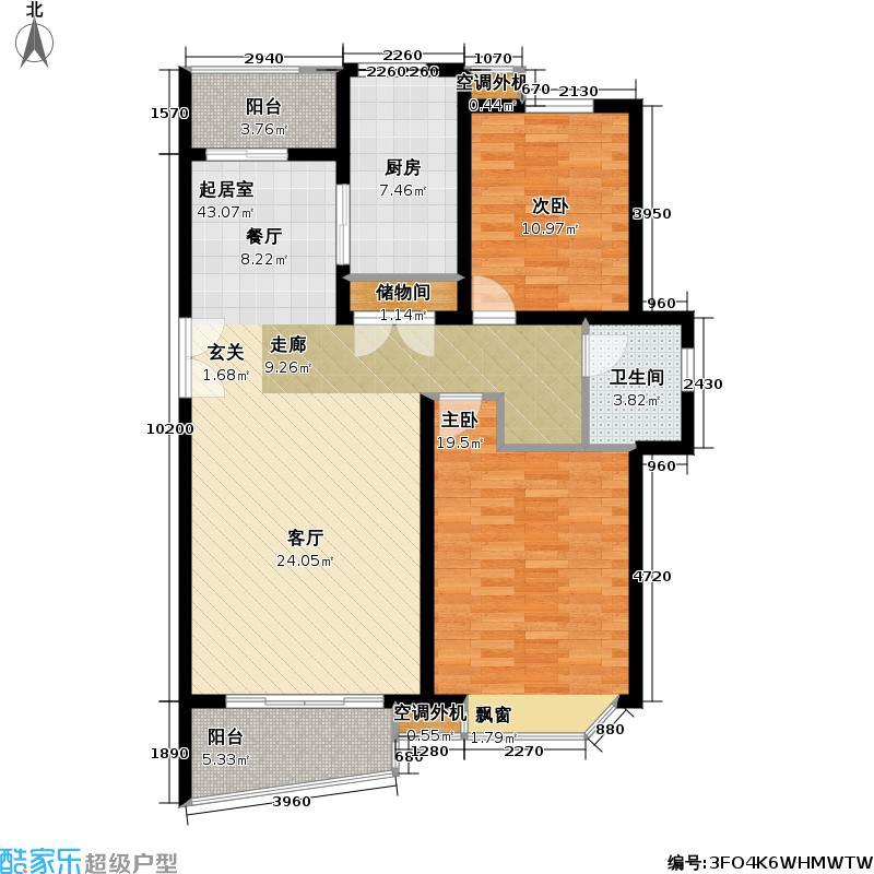 万里城(三期)104.00㎡房型: 二房; 面积段: 104 -107.76 平方米; 户型
