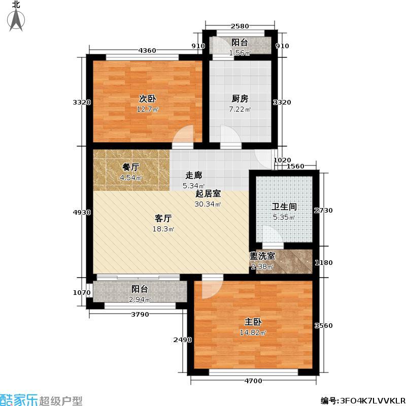 协和酒店式公寓96.00㎡2室1厅一卫96平米双南户型