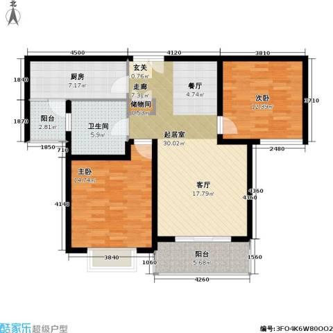 新梅共和城二期2室0厅1卫1厨91.00㎡户型图