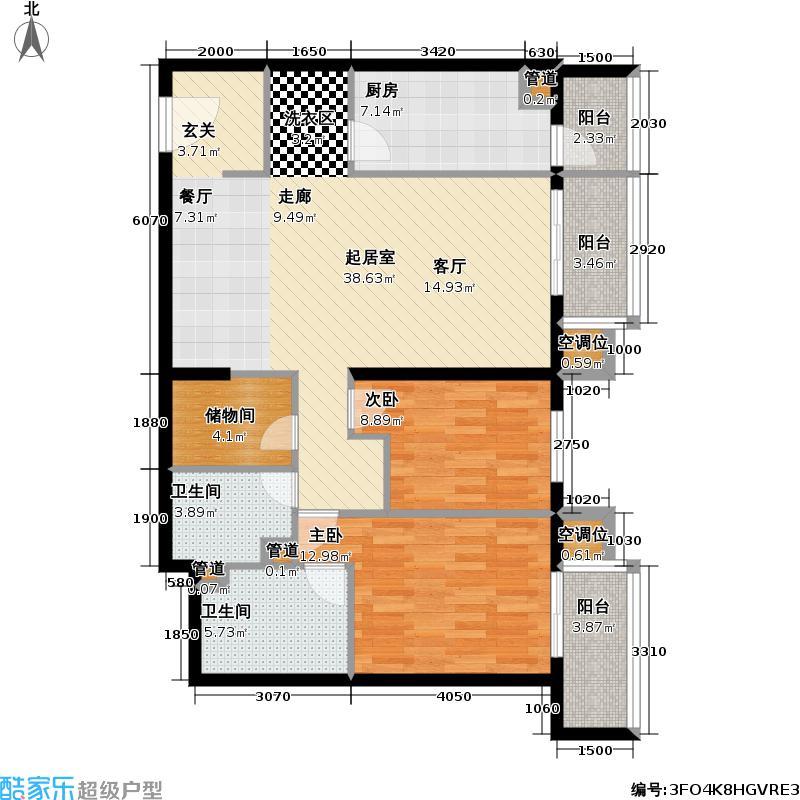 增光佳苑129.06㎡2室-2厅-2卫-1厨户型