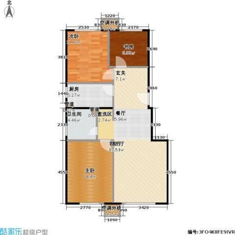 中国铁建・原香嘉苑3室1厅1卫1厨94.00㎡户型图