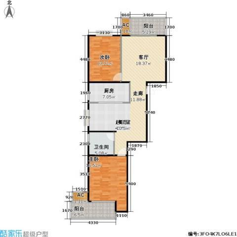 桃源兴城苑(二期)东块2室0厅1卫1厨96.41㎡户型图