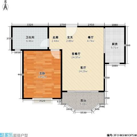 金沙雅苑1室1厅1卫1厨76.00㎡户型图