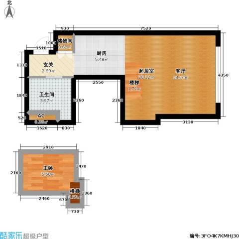 大众河滨大厦1室0厅1卫0厨38.67㎡户型图