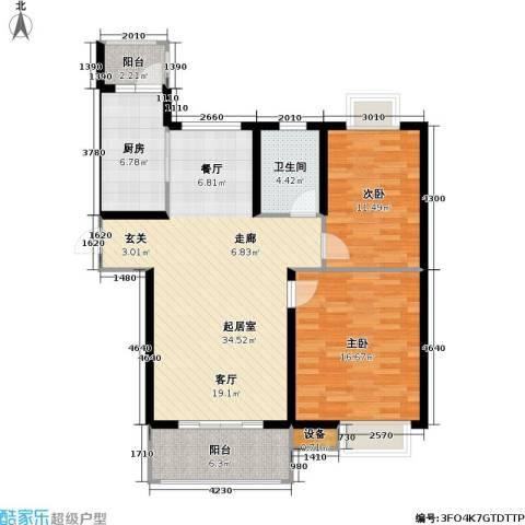 路劲湖畔天城2室0厅1卫1厨93.00㎡户型图