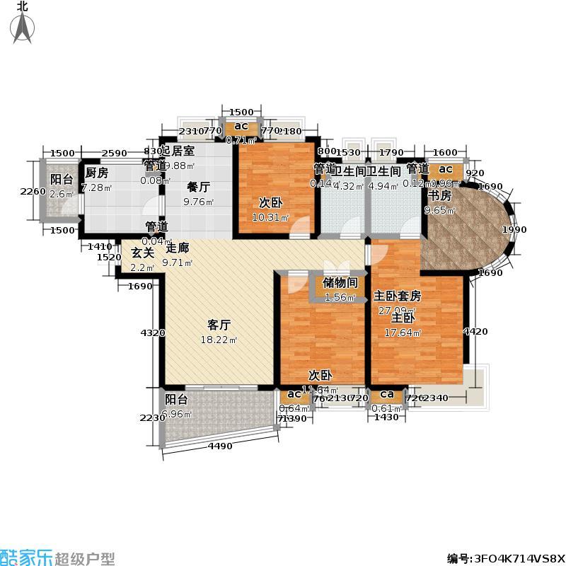 九城湖滨国际公寓142.00㎡三房二厅二卫,面积约143平方米户型