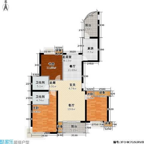 路劲湖畔天城3室0厅2卫1厨125.00㎡户型图