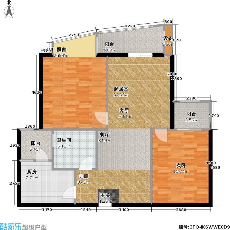 佳信都市花园两房两厅一卫108平全朝南户型