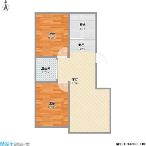 雍达华仁公馆2室1厅1卫1厨57.00㎡户型图