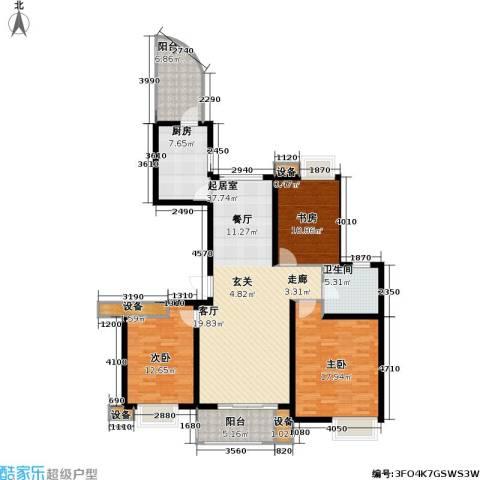 路劲湖畔天城3室0厅1卫1厨117.00㎡户型图