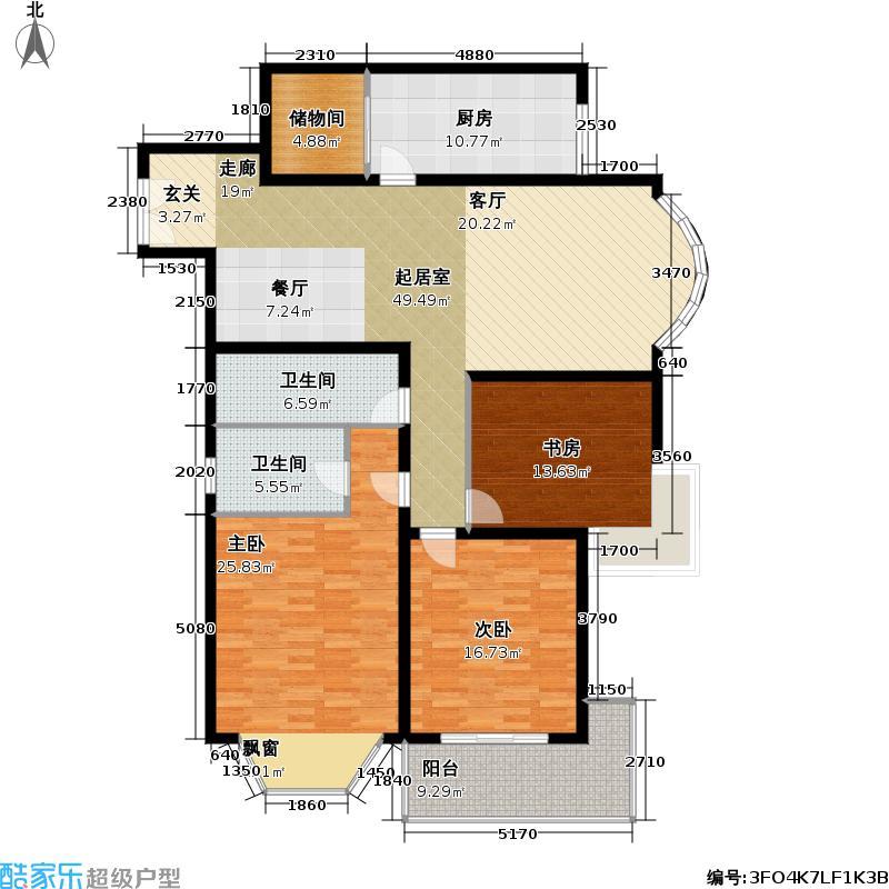 黄浦众鑫城二期150.00㎡房型: 三房; 面积段: 150 -160 平方米; 户型