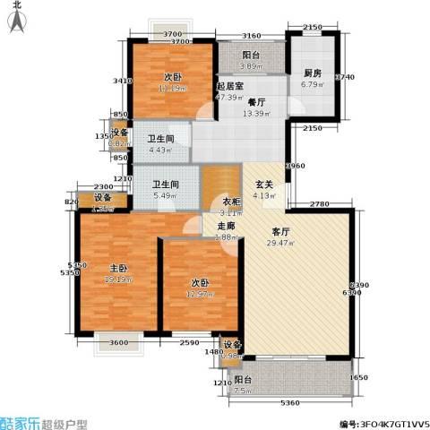 中金玫瑰湾二期3室0厅2卫1厨136.00㎡户型图