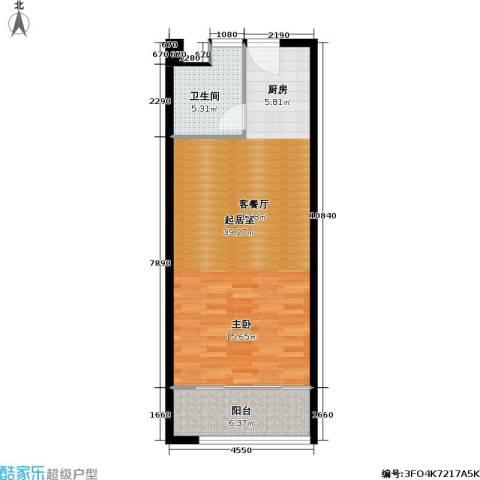 香榭水岸四期公寓1卫0厨56.00㎡户型图