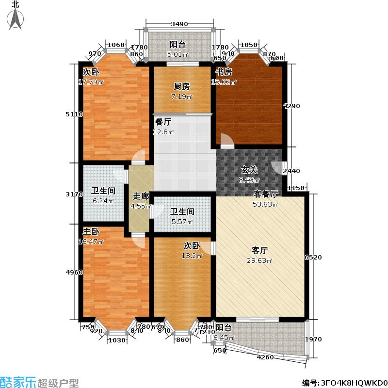 津狮花园(长亭・绿洲)166.11㎡四室二厅二卫户型