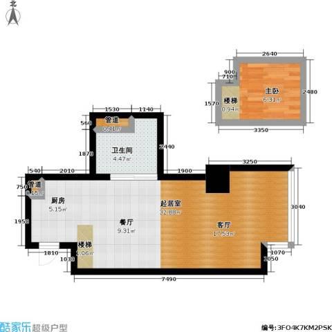 大众河滨大厦1室0厅1卫0厨43.67㎡户型图