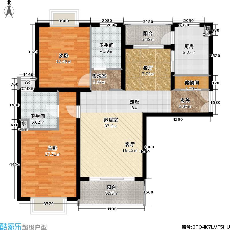音乐河(静安生活恋曲)两室两厅两卫119平户型