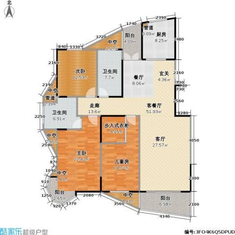 金月湾小区3室1厅2卫1厨146.32㎡户型图