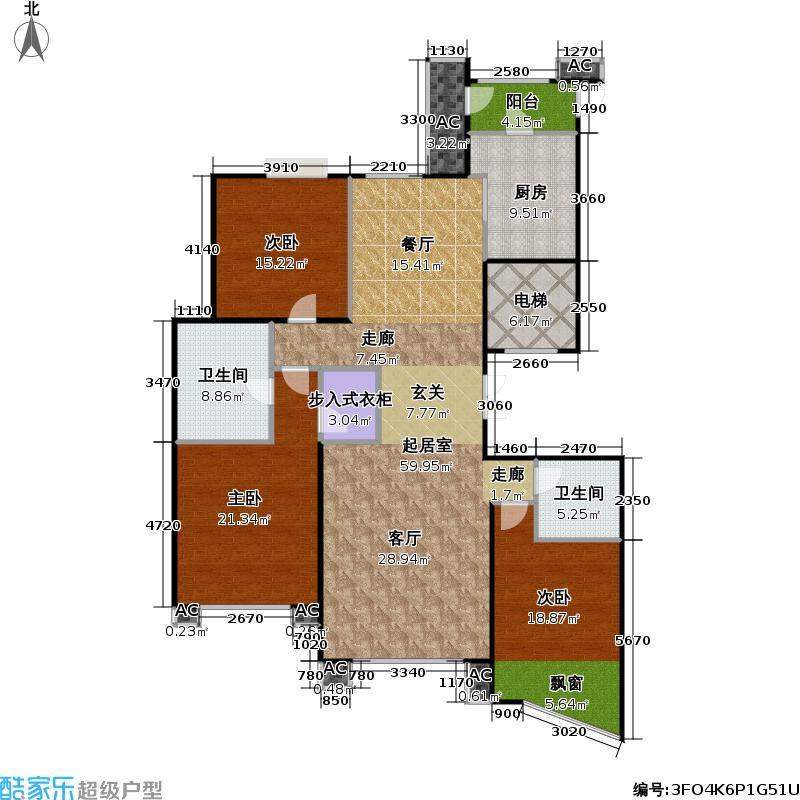 福龙大厦169平米三房两厅两卫双南户型
