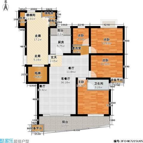 香榭水岸四期公寓4室1厅1卫1厨185.00㎡户型图