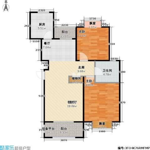 金光大道二期文昌花园2室1厅1卫1厨80.00㎡户型图