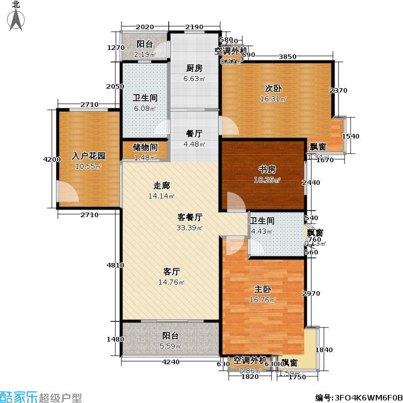河滨城市花园110.00㎡房型: 三房; 面积段: 110 -128 平方米; 户型