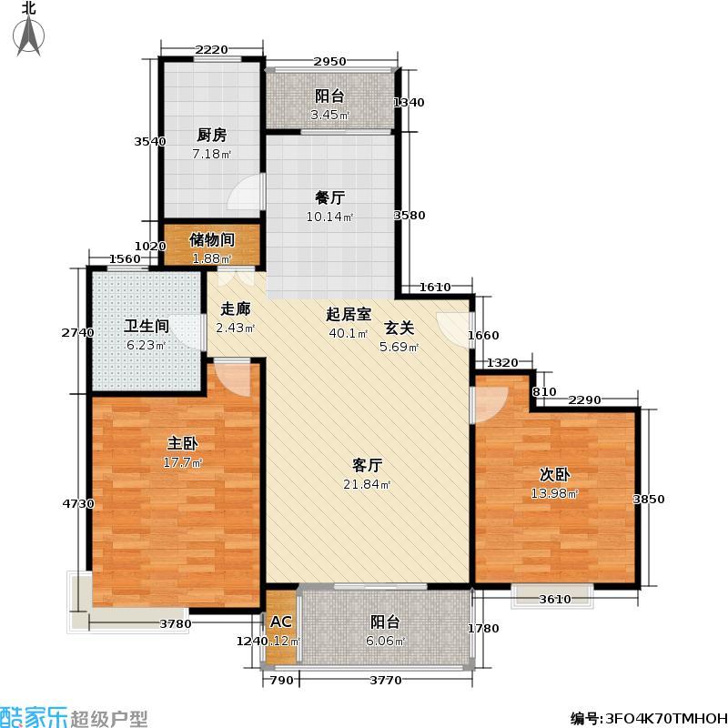 源城锦苑二期2室2厅1卫106平米全南户型