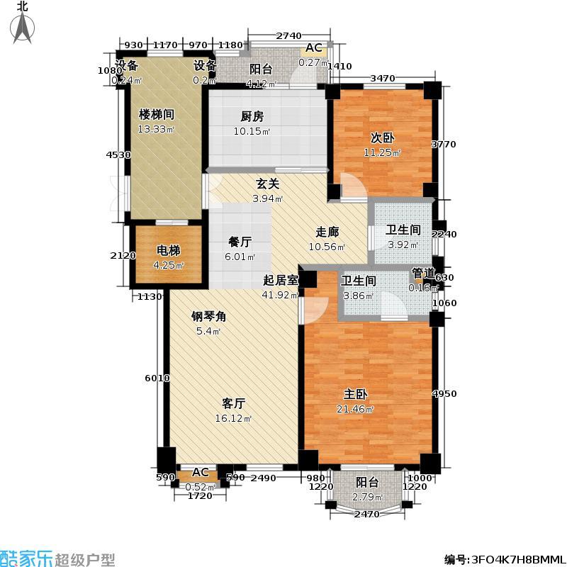 博海公寓133.00㎡房型LL