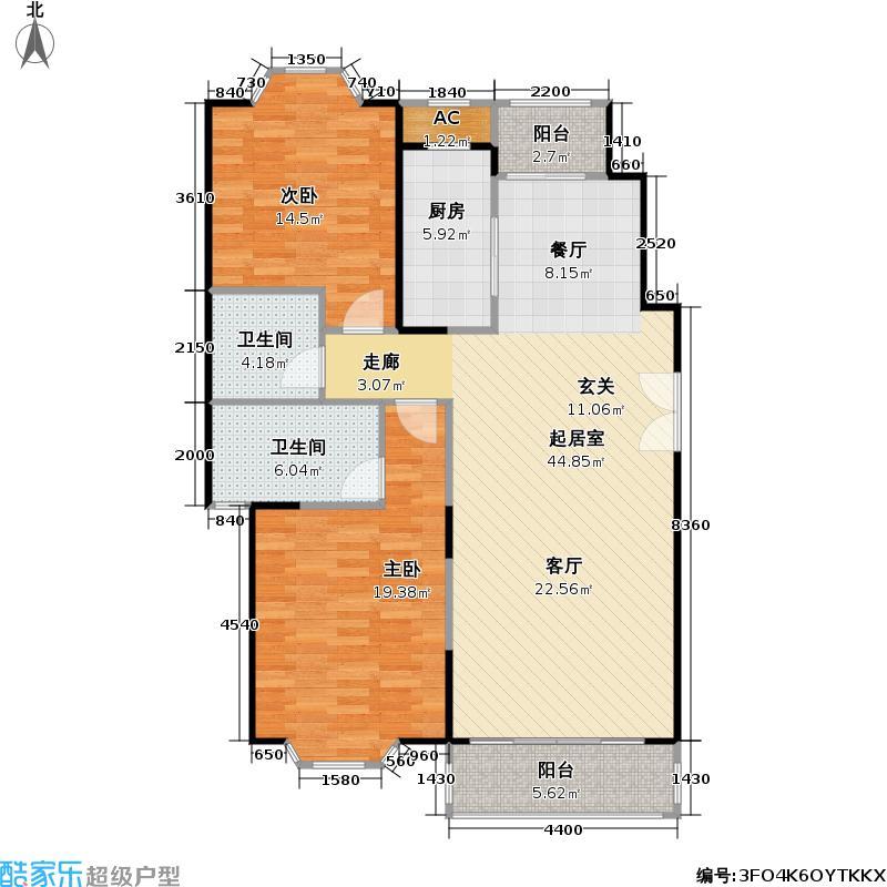 飘鹰东方花园二期110.00㎡房型: 二房; 面积段: 110 -117 平方米; 户型