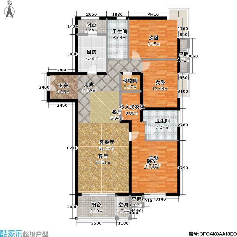 力度家园(清河人家)154.00㎡三室两厅户型