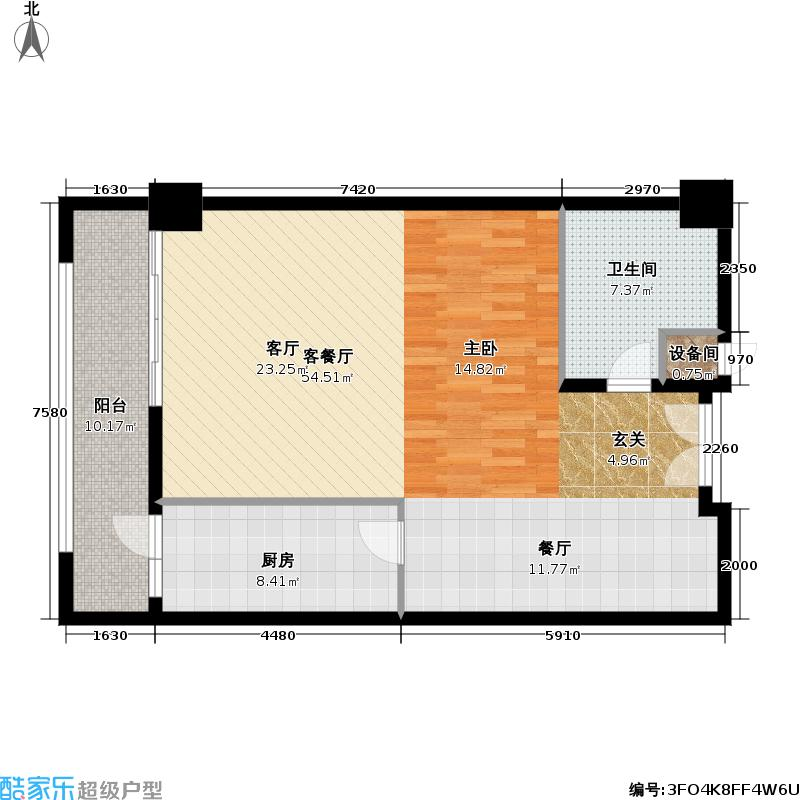 文津国际90.73㎡一室一厅一卫户型