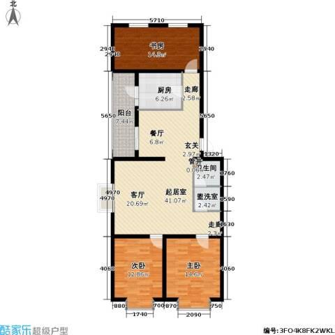 飞腾温泉家园3室0厅1卫1厨116.00㎡户型图