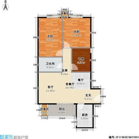 彩虹街区3室1厅1卫1厨107.00㎡户型图