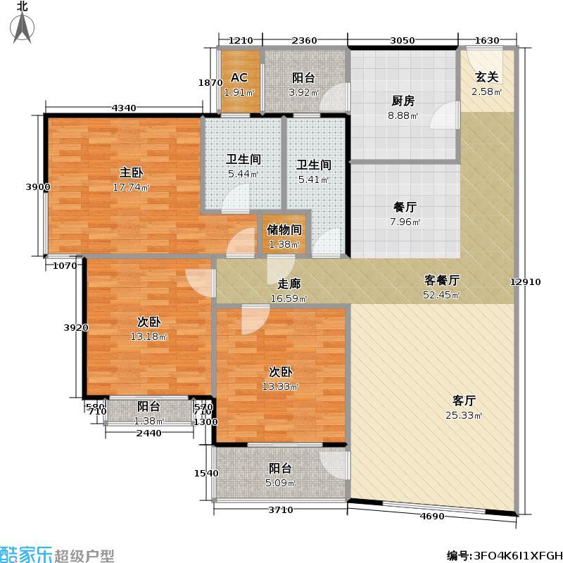 黄浦众鑫城一期135平方米的三房两厅两卫南北户型
